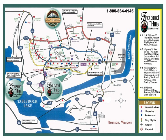 Branson Lake Condos Nightly Condominium Rentals - Branson-missouri-on-us-map